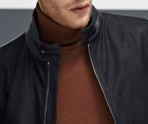 Black Leather jacket over brown knitwear by BOSS