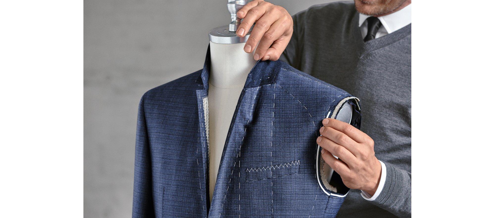 Blue suit construction by BOSS