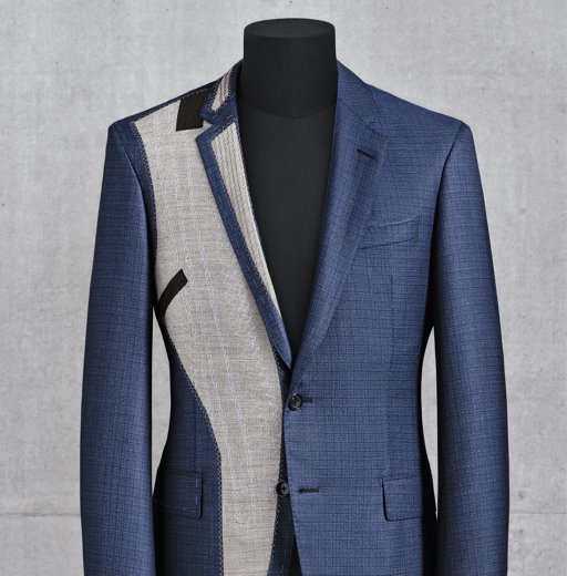 dc3acdf4509f ... Tailoring process of the blue BOSS Full Canvas suit: Half-finished suit  jacket
