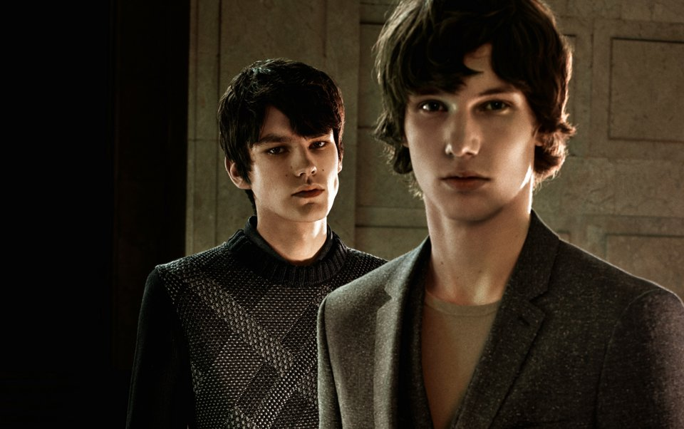 Grey suit and brown knitwear by HUGO