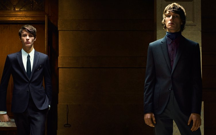 Two men wearing suits by HUGO
