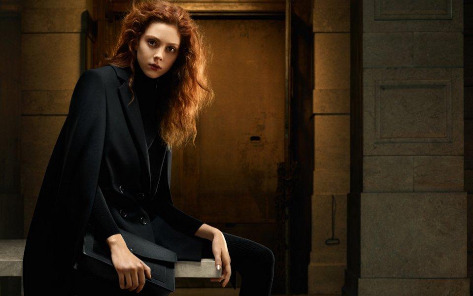 Black coat, knitwear and bag by HUGO