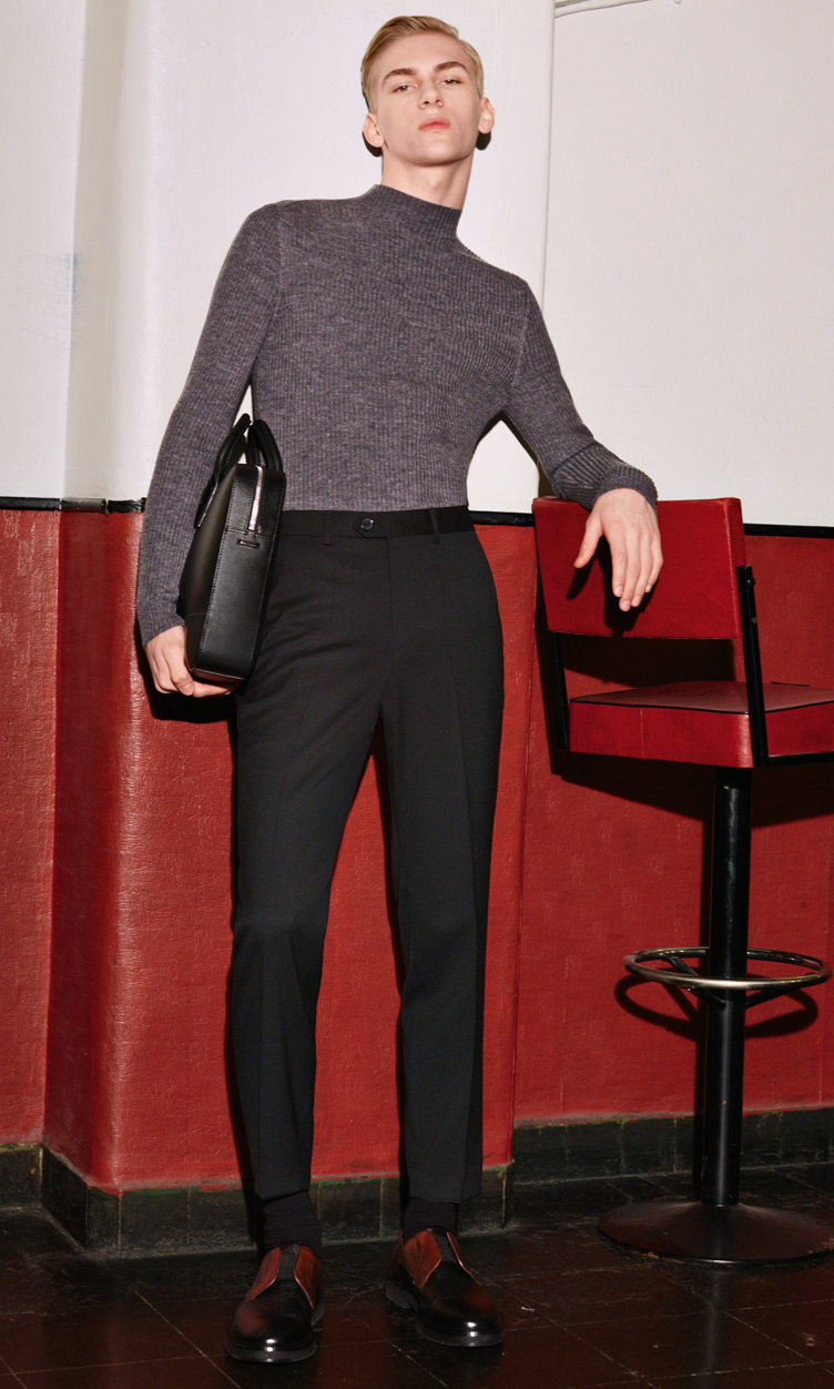 Grey Knitwear, black trousers and black bag by HUGO