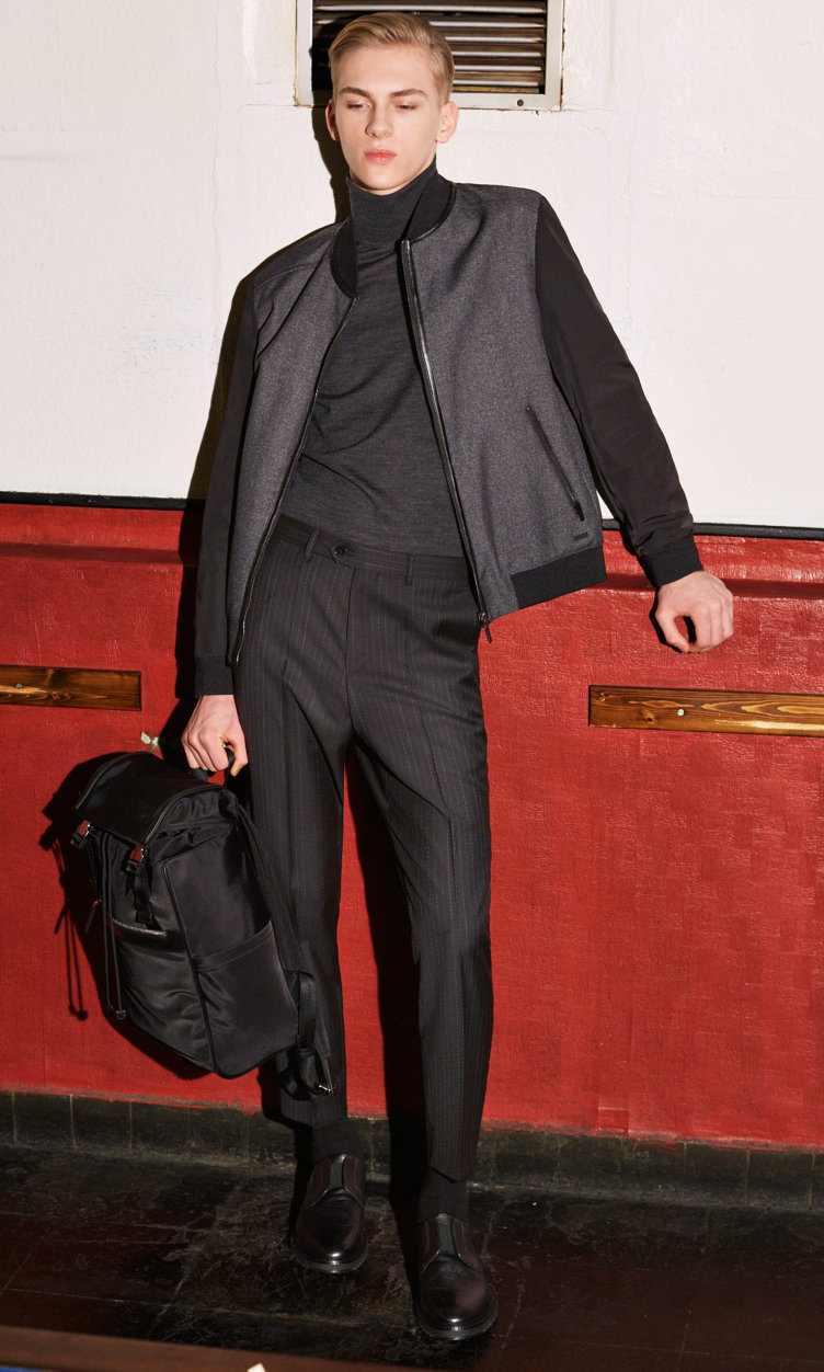 Black Outerwear jacket, Pullover, grey trousers and black shoes by HUGO