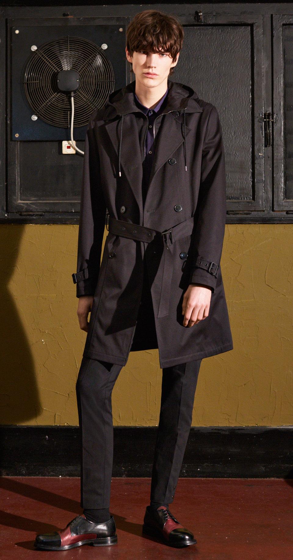 Black coat, shirt, black trousers by HUGO