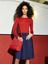 red top and navy skirt by HUGO