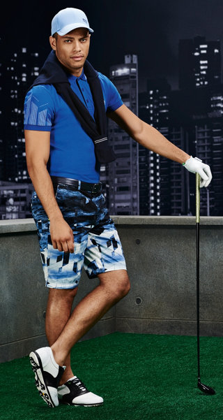 Blue pullover, blue t-shirt, patterned shorts, hat and belt by BOSS Green