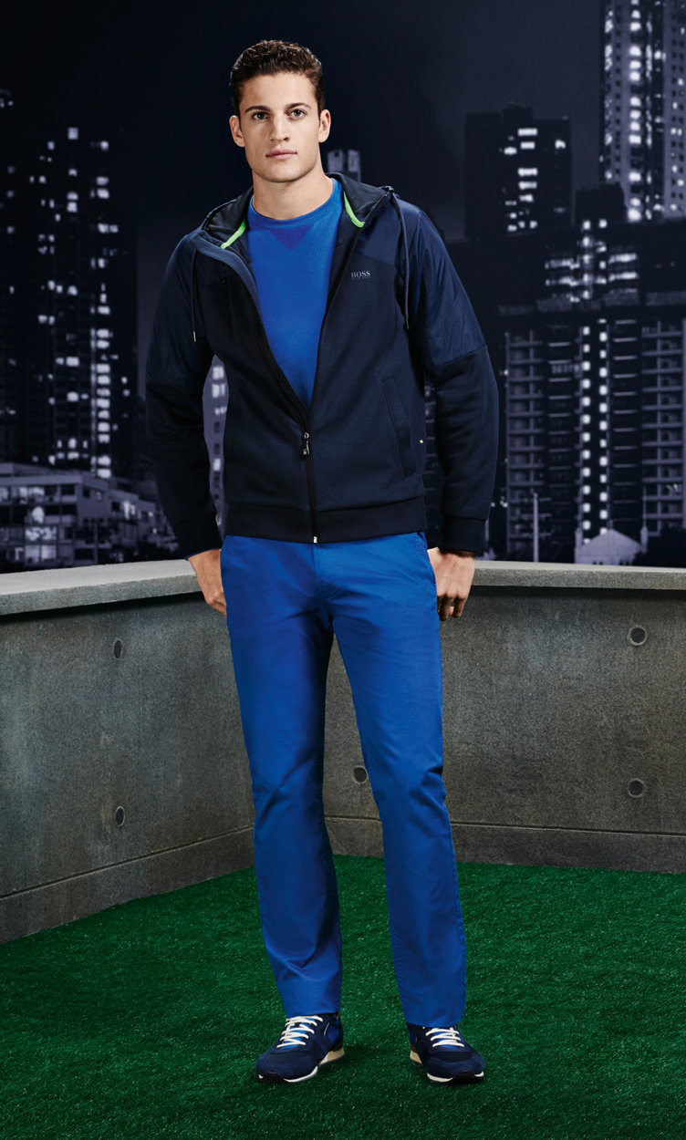 Dark blue jacket, blue pullover, trousers, belt and shoes by BOSS Green