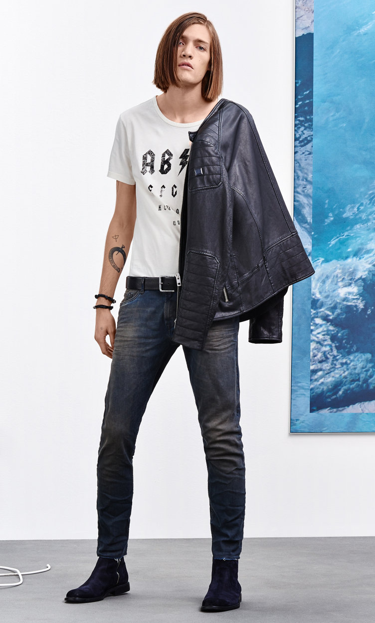 Black leather jacket, white t-shirt and jeans by BOSS Orange