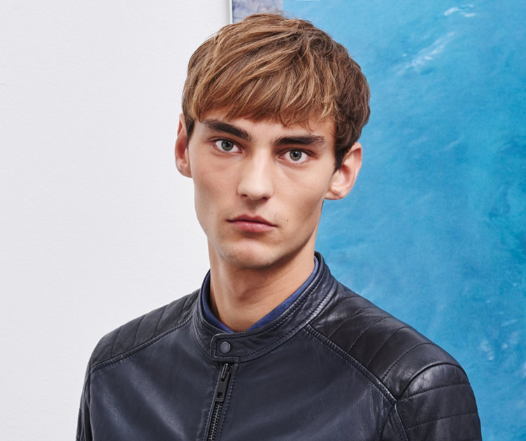 Blue leather jacket by BOSS Orange