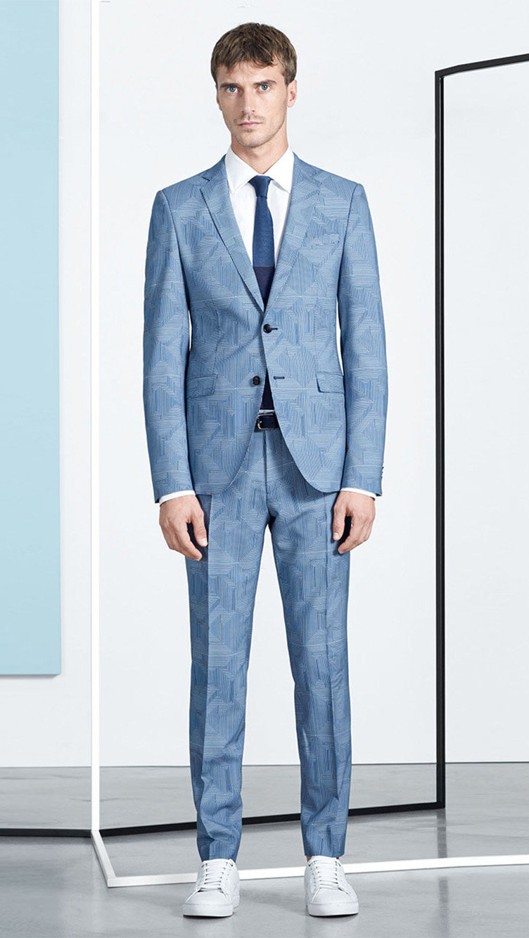 Blue suit, white shirt and shoes, tie and belt by BOSS