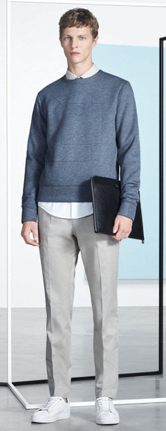 Blue Sweater, shirt, beige trousers, shoes and bag by BOSS