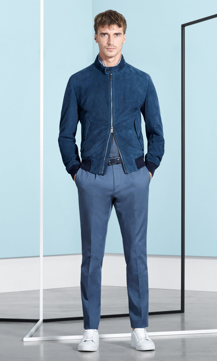 Blue leather jacket, jersey, trousers and white shoes by BOSS