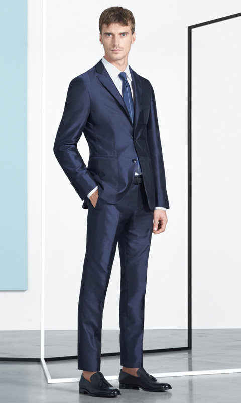 Navy suit, white shirt, navy tie, medium blue pocket square and black shoes by BOSS