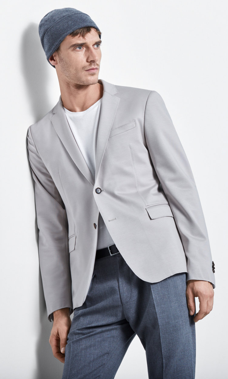 Beige tailored jacket, grey trousers and grey hat by BOSS