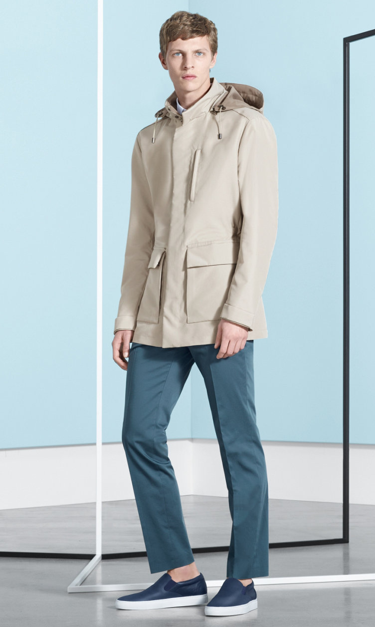 Beige Outerwear, shirt, blue trousers and shoes by BOSS