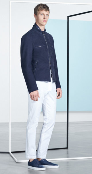 Blue leather jacket knitwear, white trousers and shoes by BOSS
