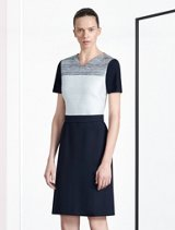 Grey, white and black color block dress by BOSS