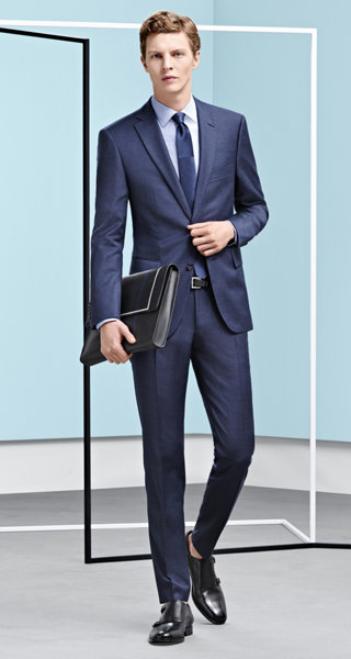 Blue suit, shirt, tie, shoes and bag by BOSS