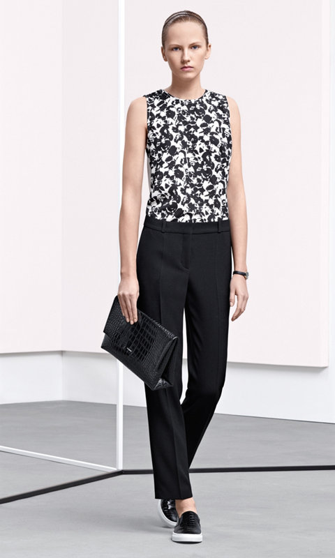 Patterned jersey, black trousers, bag and shoes by BOSS