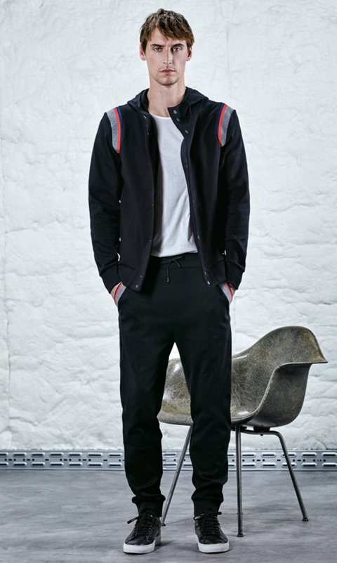 Black sweater, white t-shirt and black trousers by HUGO