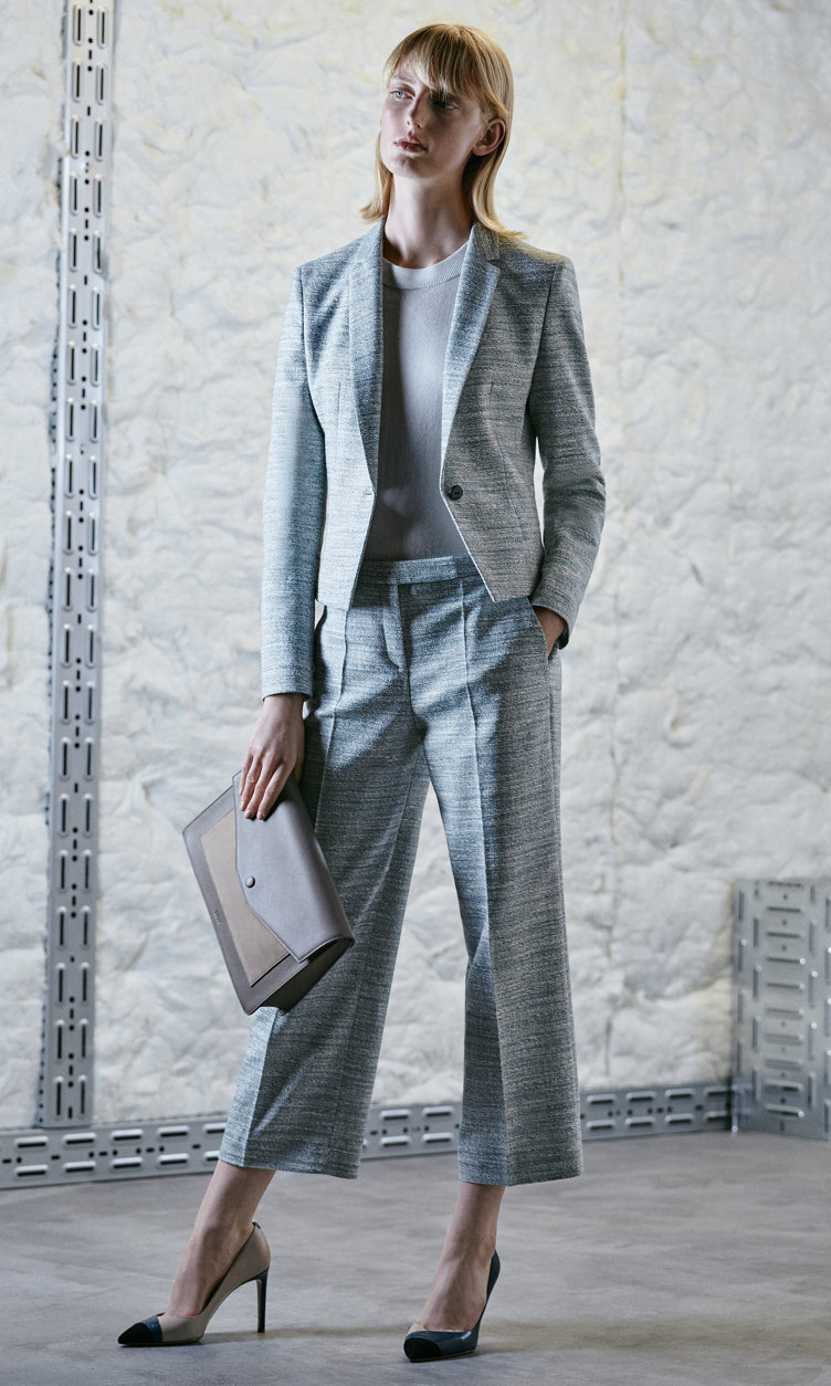 Jacket, knitwear, trousers, bag and shoes by HUGO