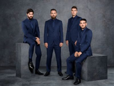 Prestigious soccer club A.S. Roma dressed in dark blue BOSS suits
