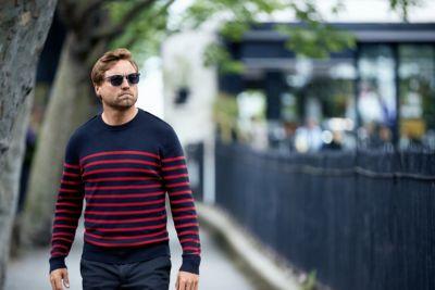 Breton stripe sweater in a structured wool-cotton blend