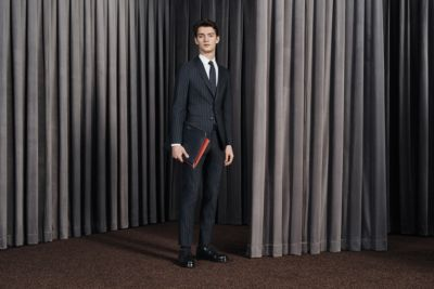 Man standing wearing a full outfit by BOSS Menswear