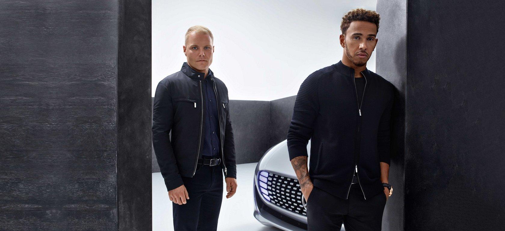 Nico Rosberg trägt eine schwarze Jacke von BOSS