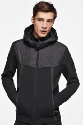 Zippered sweatshirt with quilted panel and detachable hood
