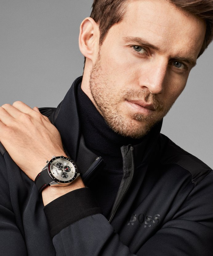 9807892ddc ... Andrew Cooper wearing knitwear and watch from BOSS