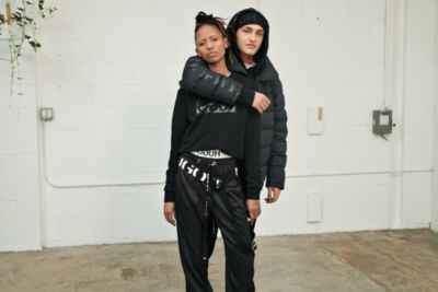 Female and male models wearing Logo Styles by HUGO
