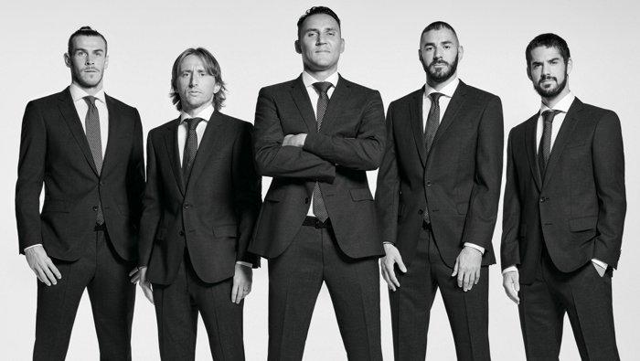 El club de fútbol profesional Real Madrid C.F. vestido con trajesBOSS