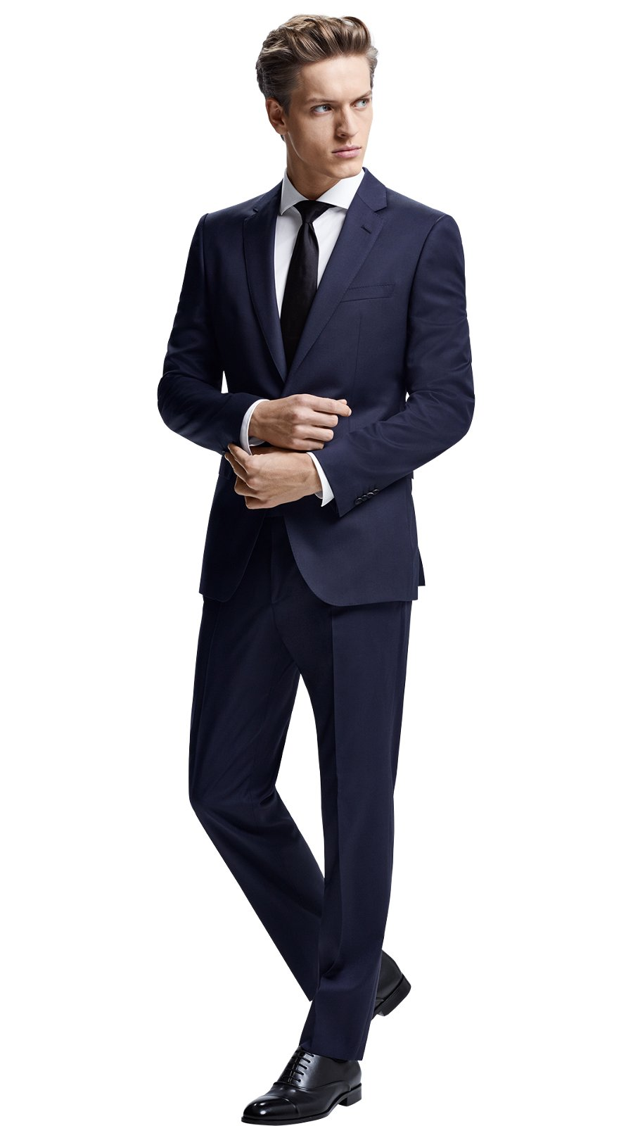 46940e88f Man wearing a mix and match dark blue suit together with white shirt, ...