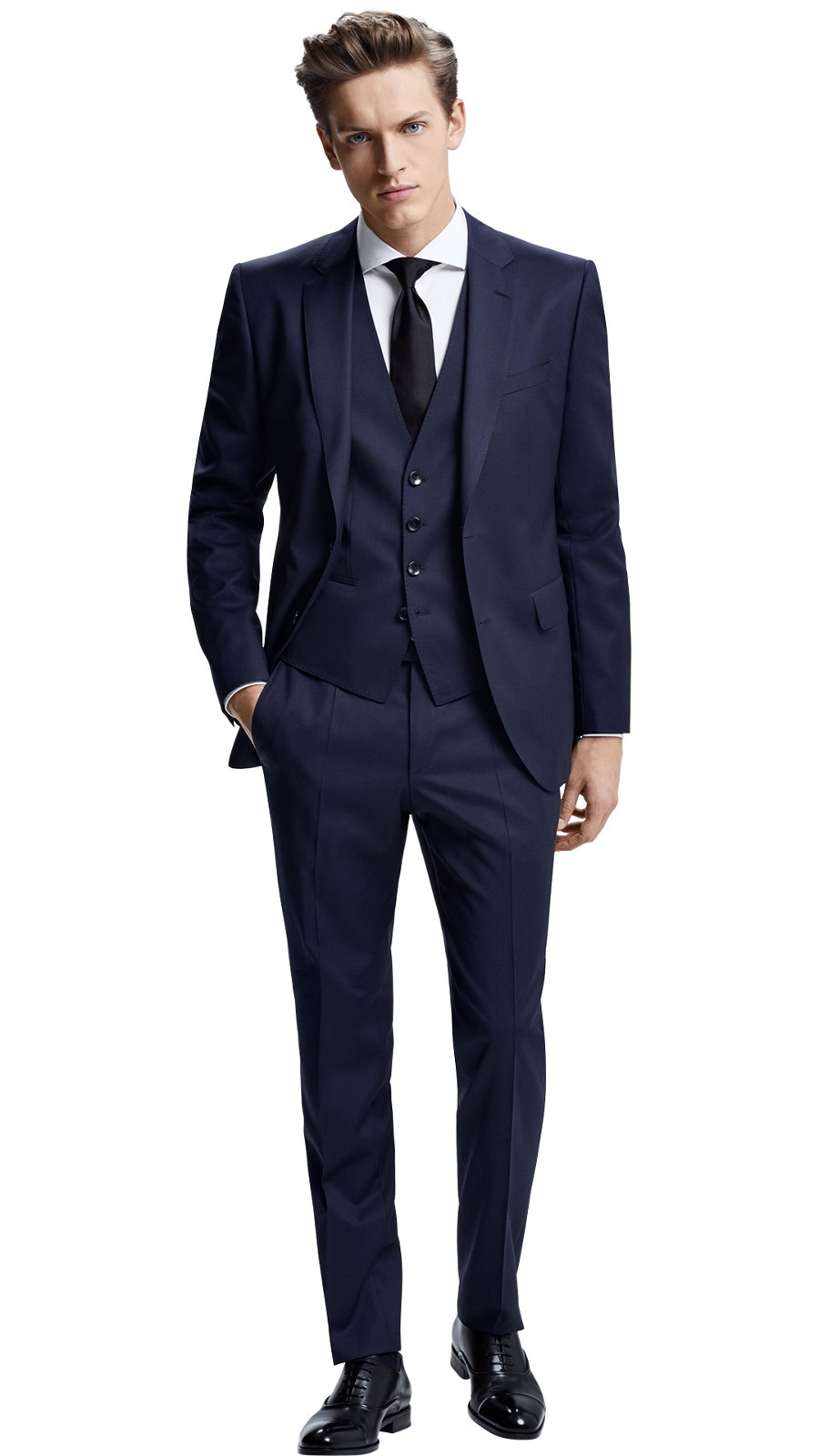 Man wearing a mix and match dark blue suit together with dark blue waistcoat, ...