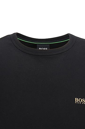 饰有对比细节的常规版T恤,  005_黑色