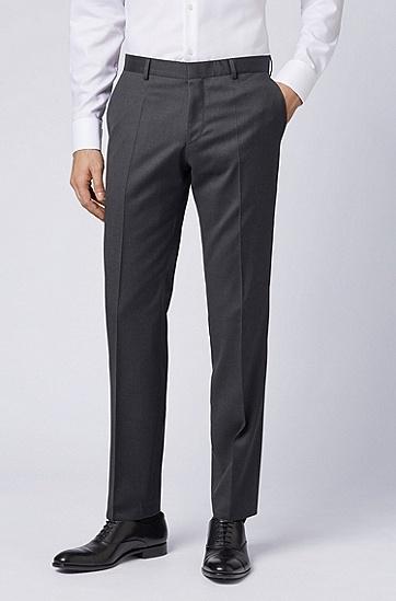 修身版羊毛长裤,  021_暗灰色