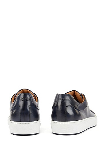 男士商务休闲皮革运动鞋,  401_暗蓝色