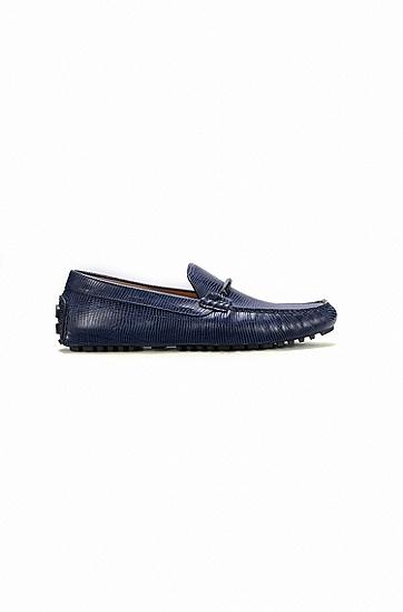 带品牌标志五金件的压花牛皮革莫卡辛驾车鞋,  401_暗蓝色