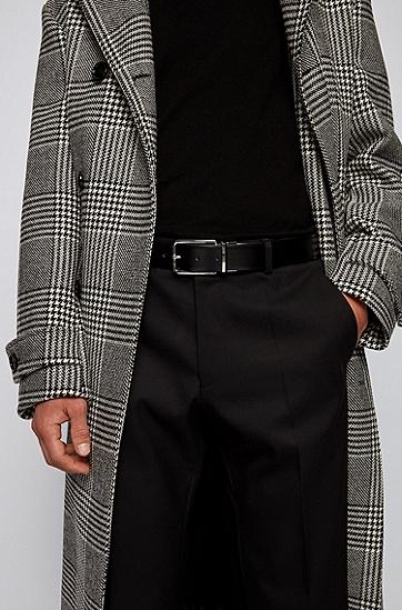 光滑加纹理意大利皮革双面腰带,  002_黑色