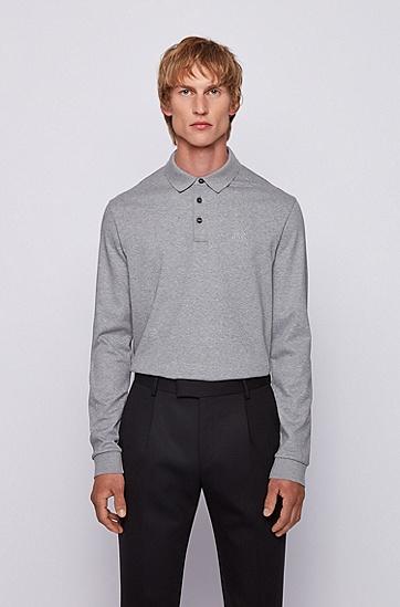 长袖棉毛 Polo 衫,  041_银灰色