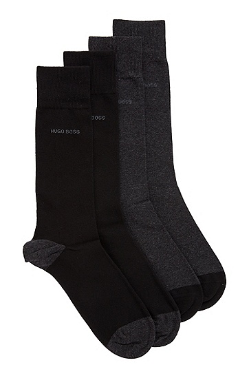 男士弹力棉质混纺袜子两双装,  002_黑色
