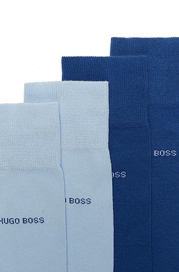 男士弹力棉质混纺袜子两双装,  431_亮蓝色