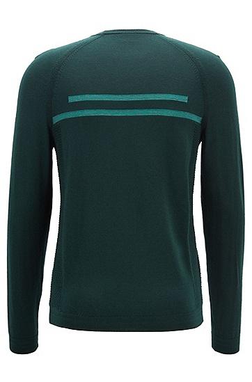 男士商务休闲LOGO印花长袖圆领针织衫毛衣,  348_淡绿色