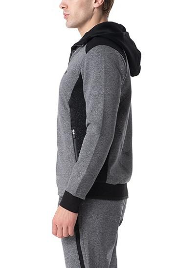 男士运动休闲拉链连帽运动衫,  005_黑色