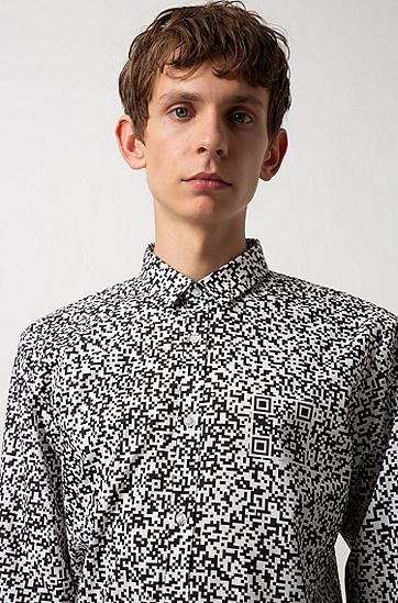 男士时尚休闲衬衫,  001_黑色