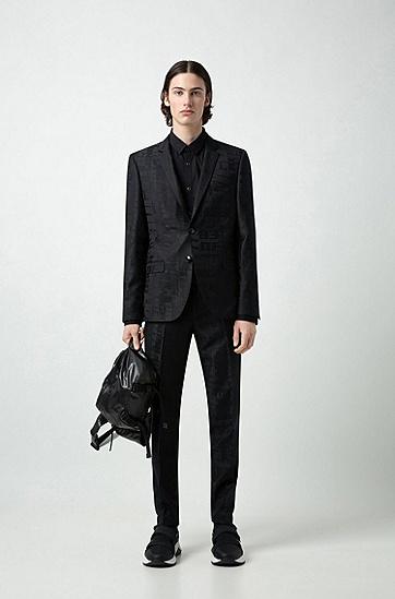 男士商务西服套装,  001_黑色
