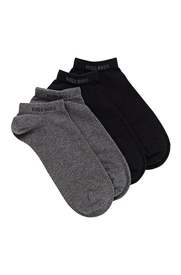 男士棉混纺短袜两双装,  032_中灰色