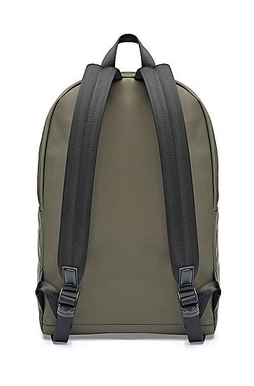 饰以倒置徽标和顶部提手的纹理尼龙背包,  309_暗绿色